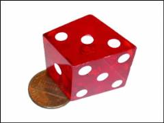 d6 Crooked Dice Red w/White (2)