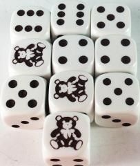 d6 Teddy Bear Dice White w/Brown (10)
