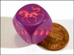 d6 Unicorn Dice Purple w/Pink (10)