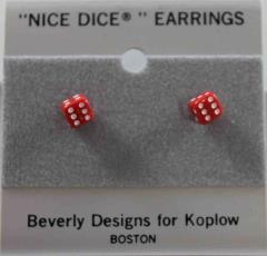 Post Earrings 5mm Opaque Red w/White (2)