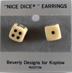 Post Earrings 10mm Opaque Ivory w/Black (2)