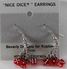 Dangle Triple Earrings 5mm Translucent Red w/White (2)