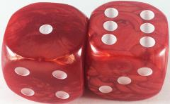 d6 36mm Pearlized Red w/White (2)