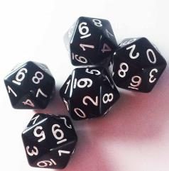 d20 (0-9 Twice) Black w/White (5)