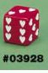 d6 25mm Sweetheart Dice Red w/White (2)