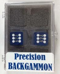 16mm Dark Blue Transparent d6 Backgammon Dice w/White Pips (2)