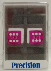 16mm Purple Transparent d6 Precision Backgammon Dice w/White Pips (2)