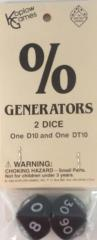 d10 Jumbo % Generators - Black w/White (2)