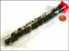 d10 Ankh Marbleized Green w/Red (10)