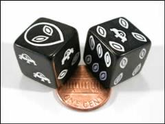 d6 Alien Dice - Black w/White (12)