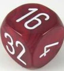 30mm Pearl Doubling Cube - Burgundy w/White Numbers
