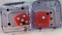 d6 25mm Double Dice - Clear w/Black (2)