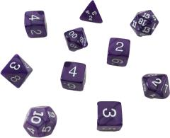 Poly Set Purple w/White (10) (Plastic Case)