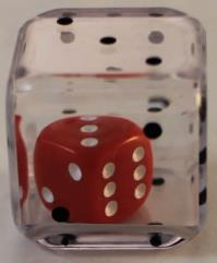 d6 19mm Double Dice - Clear Red (2)