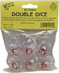 d10 Double Dice - Clear w/White (6)