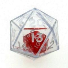 d20 Double Dice - Clear w/Red