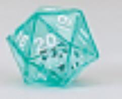 d20 Double Dice - Green w/White