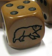 d6 16mm Bear Dice - Light Brown w/Black (5)