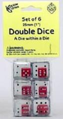 d6 25mm Double Dice - Clear w/Black (6)