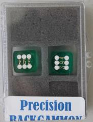 14mm Dark Green Transparent d6 Precision Backgammon Dice w/White Pips (2)