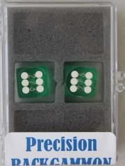 14mm Light Green Transparent d6 Precision Backgammon Dice w/White Pips (2)