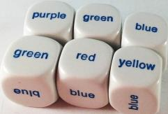 d6 20mm Color Word Dice (6)