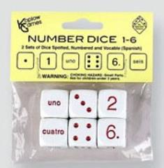 d6 20mm Number Dice 1-6 - Numbers, Pips, Spanish Words (6)