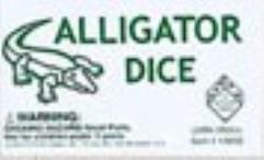 d6 16mm Alligator Dice - White w/Green (5)