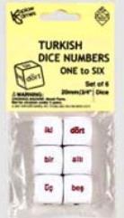 d6 20mm Number Dice 1-6 - Turkish Words (6)