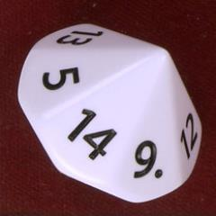 d14 White w/Black - 1 to 14