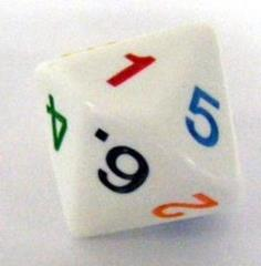 d14 White w/Rainbow - 1 to 7 Twice