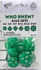 Who Knew? - Dice Set, Green w/White (6)