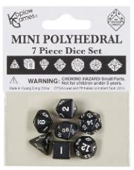 7 Piece Mini Polyhedral Set - Black w/White