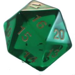 D20 55mm Emerald w/Gold