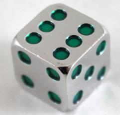 15mm d6 Metal Dice w/Green Pips