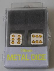 15mm d6 Metal Dice w/Yellow Pips (2)