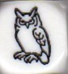 d6 16mm Owl Dice - White w/Black (5)