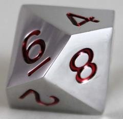20mm d10 Metal Dice w/Red