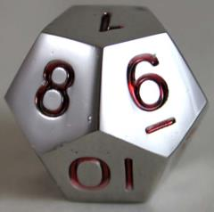 20mm d12 Metal Dice w/Red