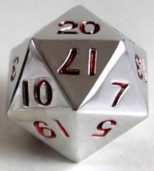 20mm d20 Metal Dice w/Red