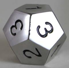 20mm d4 12-Sided Metal Dice w/Black