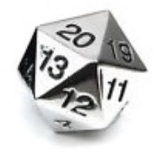 d20 Metal Countdown w/Black Numbers