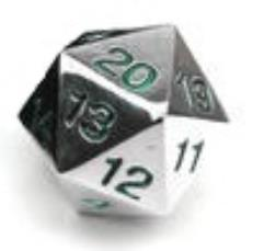 d20 Metal Countdown w/Green Numbers