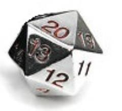 d20 Metal Countdown w/Red Numbers