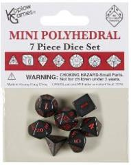 7 Piece Mini Polyhedral Set - Black w/Red