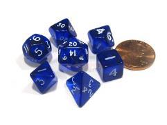 Mini Polyhedral Set - Transparent Blue w/White (7)