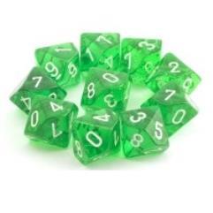D10 Set Green w/White (10)