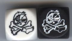 Zombie Pirate Jolly Roger Dice - Pirates of the Cursed Seas, Black & White (2)
