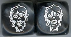Lazy Eye Zombie Head Dice - Black w/White (2)