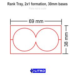 Rank Tray - 2x1 Formation, 30mm Round Bases